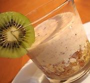 Verrine céréales et mousse de kiwi