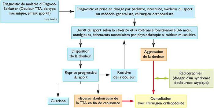 Diagnostic différentiel de la maladie d'Osgood-Schlatter (source RMS).