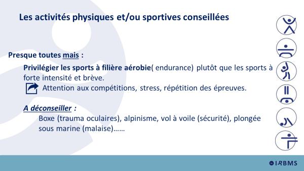 Filière aérobie : activités physiques et/ou sportives conseillées